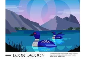 Loon Lagoon Landscape Illustration Vectorisée
