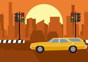 Station Wagon Stadt Free Vector