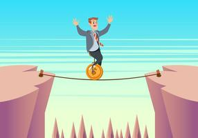 Businessman On Unicycle On A Tightrope