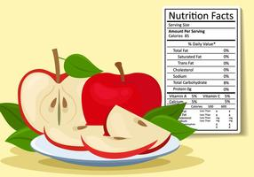 Apple Fruit Nutrition Facts vector