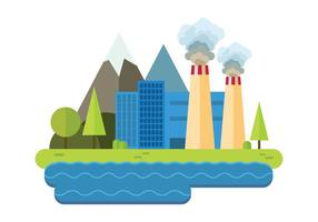 Power Plant Pollution Vector
