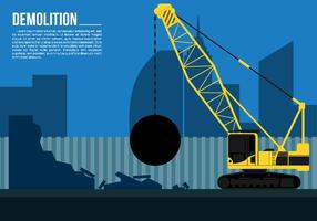 Wrecking Ball Demolition Crane Free Vector