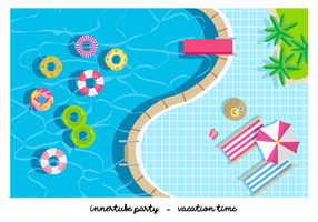 Pool Party Innertube Plano Ilustración vectorial