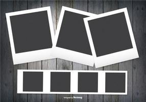 Marcos Polaroid sobre fondo de madera oscura