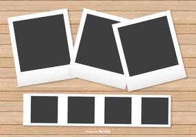 Polaroid Frames on Wood Background