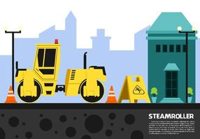 Double Drum Steamroller Free Vector