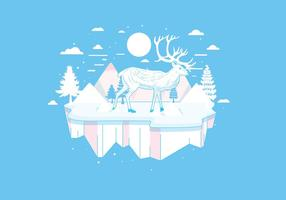 Caribou in the Snow Mountains vector