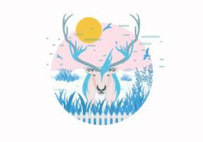 Caribou i Snowfield Vector