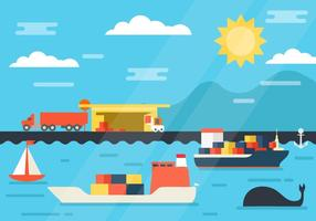 Buque de carga gratis en Shipyard and Port Loading Logistic
