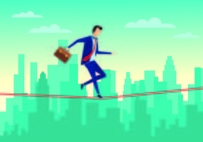Businessman Walking on Tightrope With Confidence