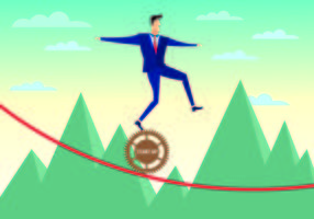Businessman Walks Tightrope With Confidence Vector
