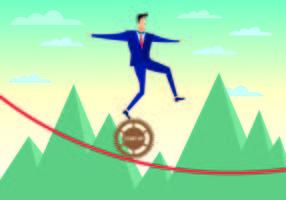 El hombre de negocios camina la cuerda tirante con el vector de la confianza