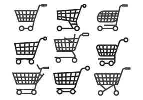 Supermarket vagn vektor uppsättning