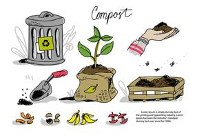 Compost Recycle Processing Doodle Vector Illustration