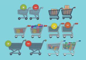 Conjunto de vector de carro de supermercado