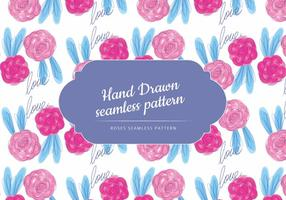 Dibujado a mano rosas patrón de vectores