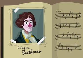 Beethoven Cartoon Portret Vector Illustratie