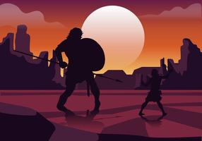 David et Goliath Fight Free Vector