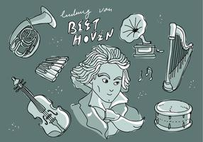 Illustration Illustration Vecteur de griffonnage Ludwig Van Beethoven Musician Legend