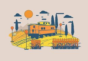 vettore del paesaggio del caboose