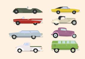 Platte klassieke auto-vectoren