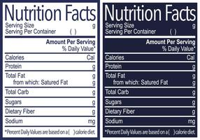 Étiquette d'information nutritionnelle vectorielle