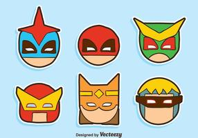 Hand getekende Super Hero Head Collection Vector