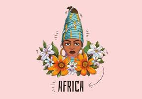 Mujer Tribal Africana Con Hojas Y Flores Vector