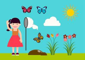 Girl Catching Butterflies Vector