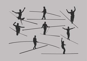 Tightrope Silhouette Set Free Vector