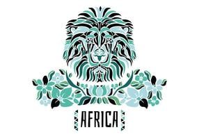 Tribal African Lion With Green Flowers And Leaves vector