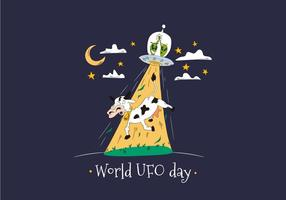 Dia Mundial do OVNI com Aliens Abducting Cow Vector