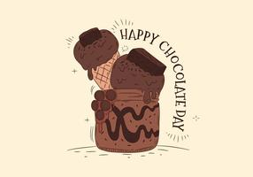 Choklad Dessert För Choklad Dag Vector
