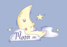 Watercolor Moon Character Sleeping With Clouds And Stars