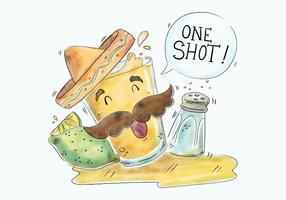 Gullig Tequila Shot Karaktär Med Mexican Hat Vector