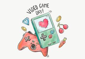 Watercolor Handheld Video Game Vector