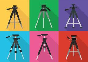 Camera statief pictogram vector set