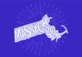Massachusetts state lettering vector