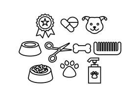 Libere los accesorios del perro Línea Icono Vector