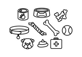 Free Dogs Accessories Line Icon Vector