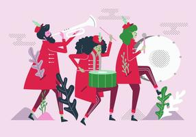 Marching Band Parade Vector Platte Karakter Illustratie