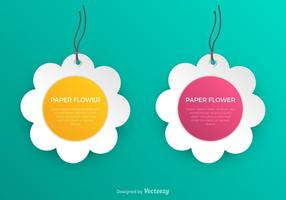 Vector Abstract White Paper Flower Labels