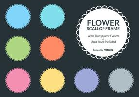 Colorful Flower Scallop Frame Borders