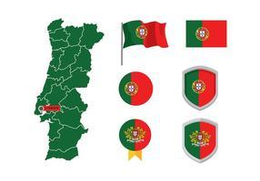 Carte portugaise et drapeau vecteur gratuit