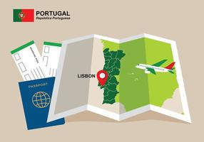 Conception de la carte portugal vecteur gratuit