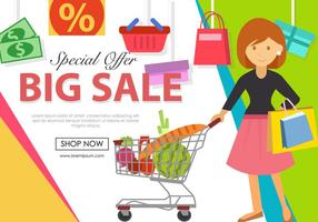 Women Shopping With The Cart vector