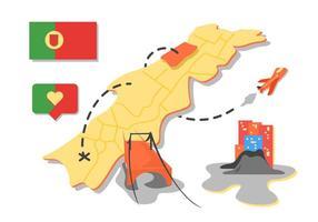 Vectores gratis de mapa de viaje de Portugal