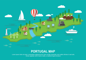 Carte graphique du Portugal Illustration vectorielle
