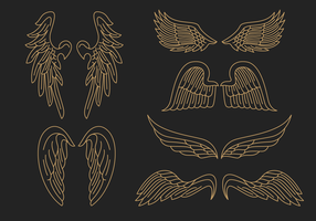 Gold Angel Wings Outline Vector