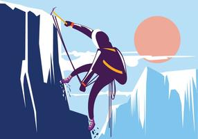 Man Hiking in Beautiful Winter Mountain. Alpinist with Concept vector